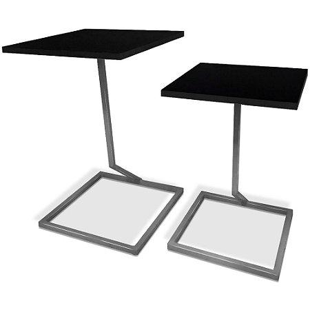 Mesa De Canto Dupla Square - Prata/Preto