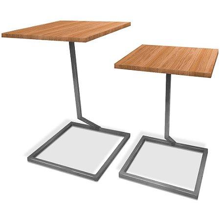 Mesa De Canto Dupla Square - Prata/Jade