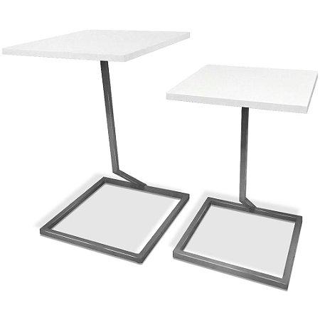 Mesa De Canto Dupla Square - Prata/Branco