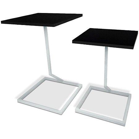 Mesa De Canto Dupla Square - Branco/Preto