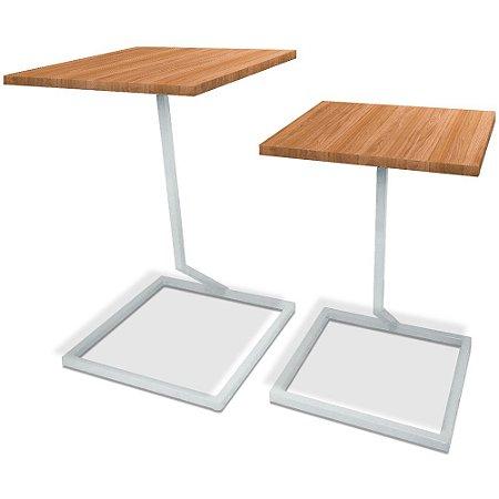 Mesa De Canto Dupla Square - Branco/Jade