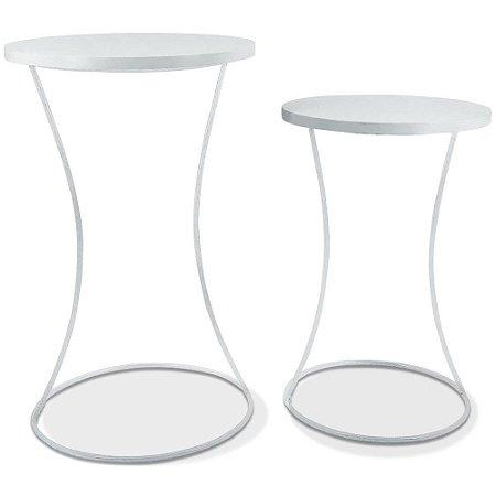 Conjunto Mesa De Canto Perla - Branca/Branco