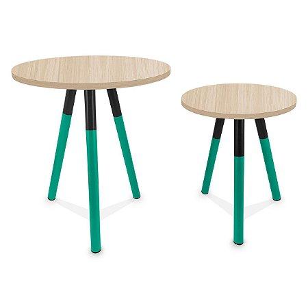Mesa de Canto Dupla Houston - Verde/Jade