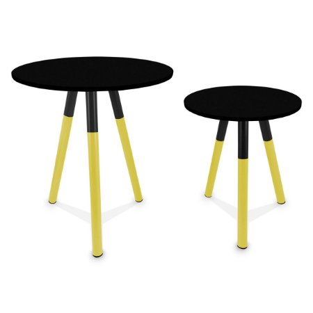 Mesa de Canto Dupla Houston - Amarelo/Preto