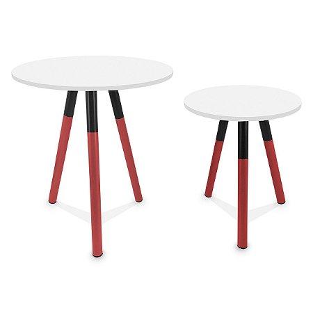 Mesa de Canto Dupla Houston - Vermelho/Branco