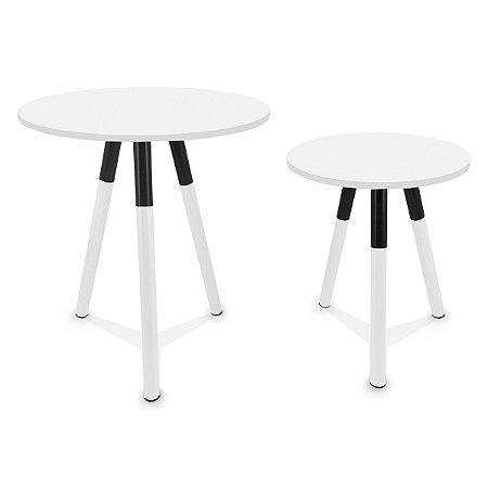 Mesa de Canto Dupla Houston - Branco/Branco