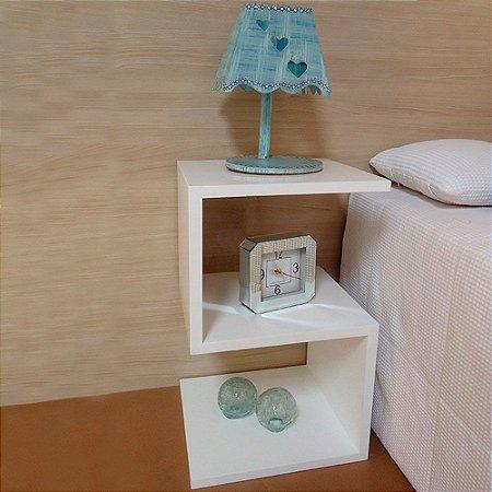 Mesa de Cabeceira Pequeno Criado Mudo Mdf em S - Branco