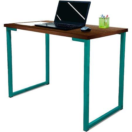 Mesa para Escritório Escrivaninha Estilo Industrial Nova York Mdf 120cm - Verde e Villandry