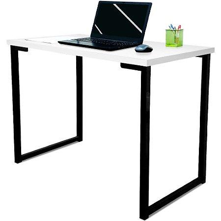 Mesa para Escritório Escrivaninha Estilo Industrial Nova York Mdf 120cm - Preta e Branca
