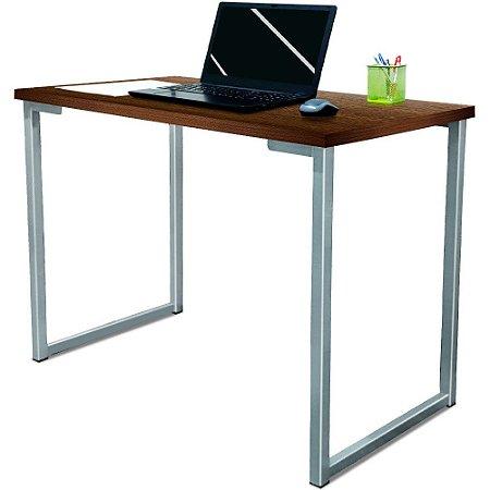 Mesa para Escritório Escrivaninha Estilo Industrial Nova York Mdf 120cm - Prata e Villandry