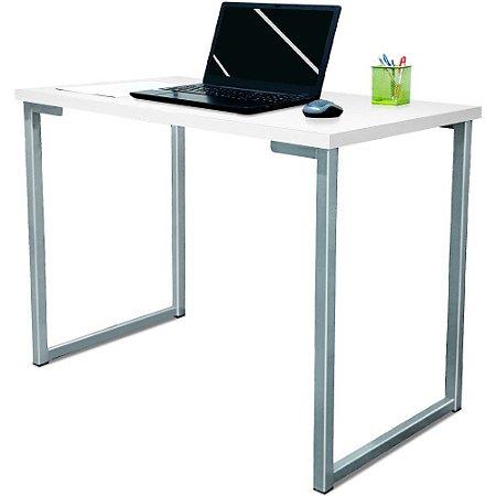 Mesa para Escritório Escrivaninha Estilo Industrial Nova York Mdf 120cm - Prata e Branco