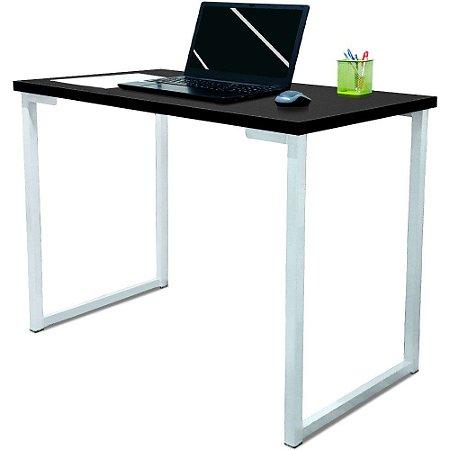 Mesa para Escritório Escrivaninha Estilo Industrial Nova York Mdf 120cm - Branco e Preto