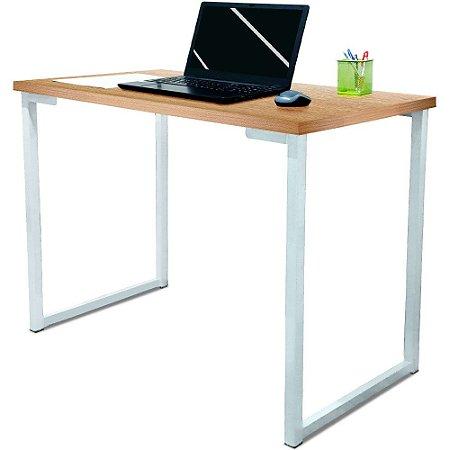 Mesa para Escritório Escrivaninha Estilo Industrial Nova York Mdf 120cm - Branco e Jade
