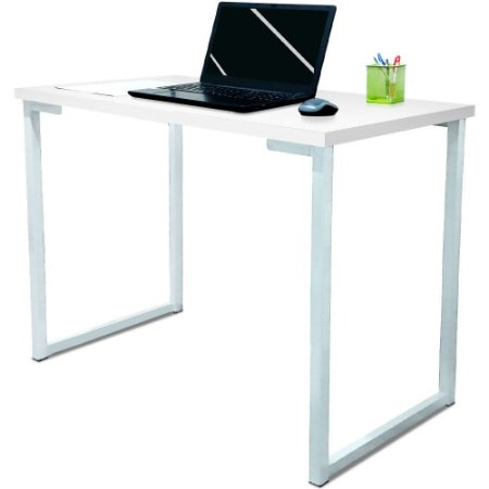 Mesa para Escritório Escrivaninha Estilo Industrial Nova York Mdf 120cm - Branco e Branco