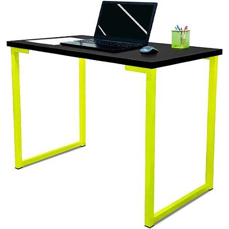 Mesa para Escritório Escrivaninha Estilo Industrial Nova York Mdf 120cm - Amarelo e Preto