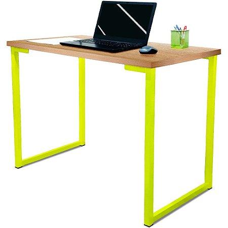 Mesa para Escritório Escrivaninha Estilo Industrial Nova York Mdf 120cm - Amarelo e Jade