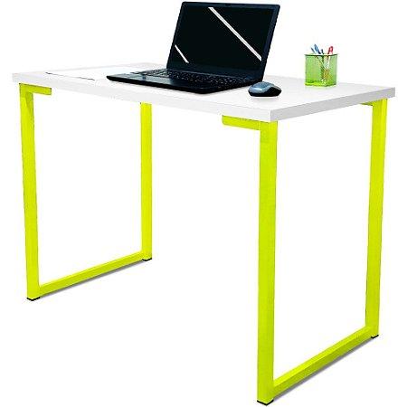 Mesa para Escritório Escrivaninha Estilo Industrial Nova York Mdf 120cm - Amarelo e Branco