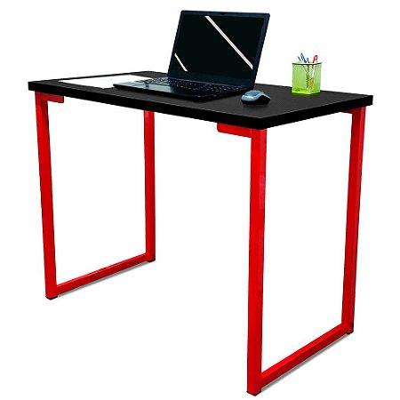 Mesa para Escritório Escrivaninha Estilo Industrial Nova York Mdf 100cm - Vermelho e Preto
