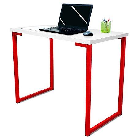 Mesa para Escritório Escrivaninha Estilo Industrial Nova York Mdf 100cm - Vermelho e Branco