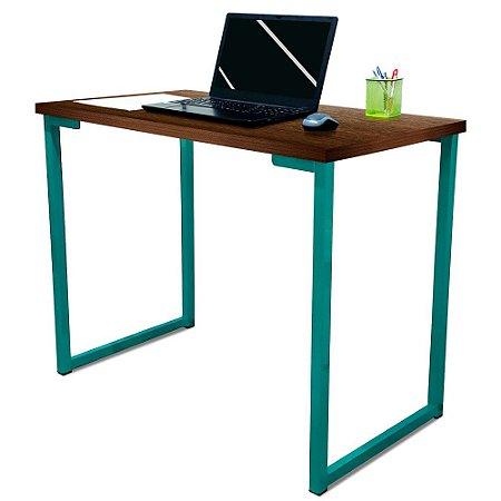 Mesa para Escritório Escrivaninha Estilo Industrial Nova York Mdf 100cm - Verde e Villandry