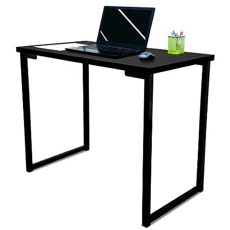 Mesa para Escritório Escrivaninha Estilo Industrial Nova York Mdf 100cm - Preta e Preta