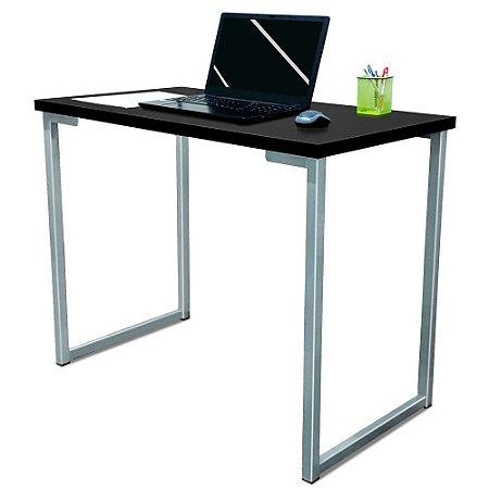 Mesa para Escritório Escrivaninha Estilo Industrial Nova York Mdf 100cm - Prata e Preto