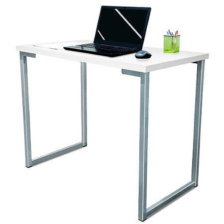 Mesa para Escritório Escrivaninha Estilo Industrial Nova York Mdf 100cm - Prata e Branca