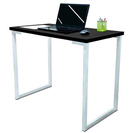 Mesa para Escritório Escrivaninha Estilo Industrial Nova York Mdf 100cm - Branca e Preto