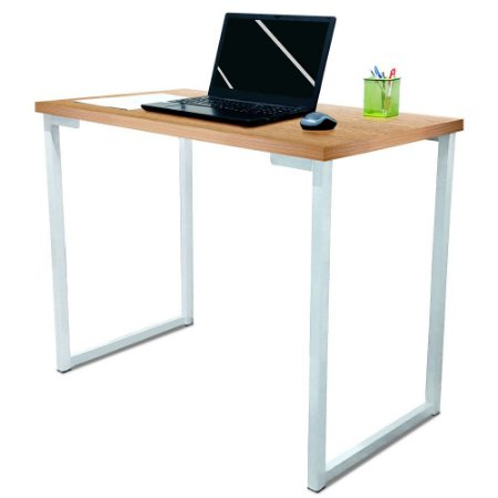 Mesa para Escritório Escrivaninha Estilo Industrial Nova York Mdf 100cm - Branca e Jade