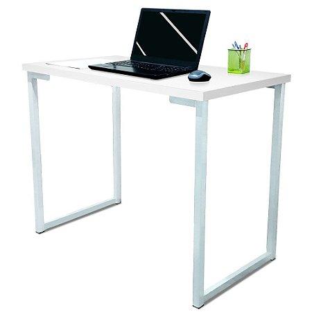 Mesa para Escritório Escrivaninha Estilo Industrial Nova York Mdf 100cm - Branca e Branca
