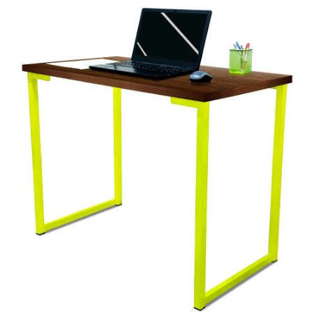 Mesa para Escritório Escrivaninha Estilo Industrial Nova York Mdf 100cm - Amarelo e Villandry
