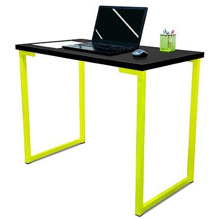 Mesa para Escritório Escrivaninha Estilo Industrial Nova York Mdf 100cm - Amarelo e Preto