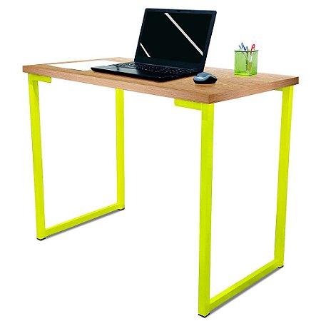 Mesa para Escritório Escrivaninha Estilo Industrial Nova York Mdf 100cm - Amarelo e Jade