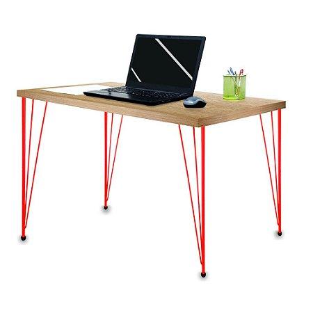 Mesa para Escritório Escrivaninha Estilo Industrial Noruega Mdf 120cm Vermelho e Jade