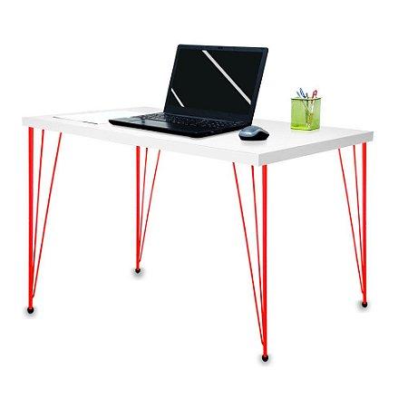 Mesa para Escritório Escrivaninha Estilo Industrial Noruega Mdf 120cm Vermelho e Branco