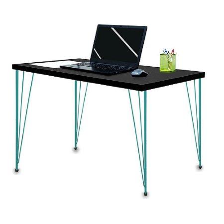 Mesa para Escritório Escrivaninha Estilo Industrial Noruega Mdf 120cm Verde e Preto