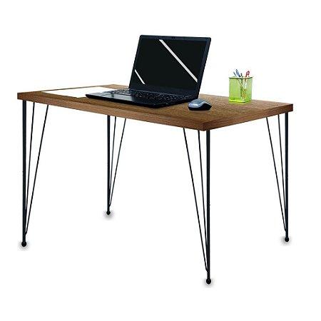 Mesa para Escritório Escrivaninha Estilo Industrial Noruega Mdf 120cm Preta e Villandry