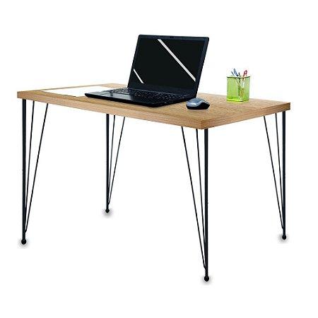 Mesa para Escritório Escrivaninha Estilo Industrial Noruega Mdf 120cm Preta e Jade