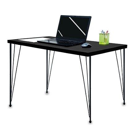 Mesa para Escritório Escrivaninha Estilo Industrial Noruega Mdf 120cm Preta e Preta
