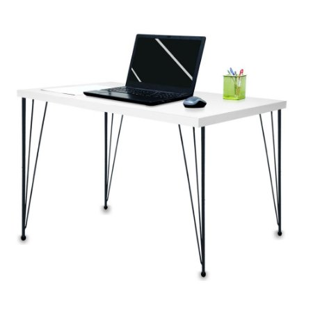 Mesa para Escritório Escrivaninha Estilo Industrial Noruega Mdf 120cm Preta e Branca