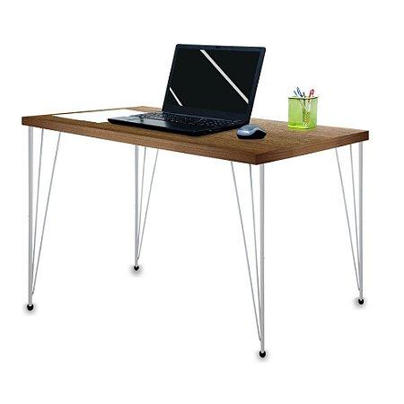 Mesa para Escritório Escrivaninha Estilo Industrial Noruega Mdf 120cm Prata e Villandry