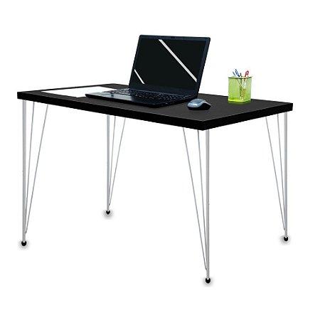 Mesa para Escritório Escrivaninha Estilo Industrial Noruega Mdf 120cm Prata e Preto