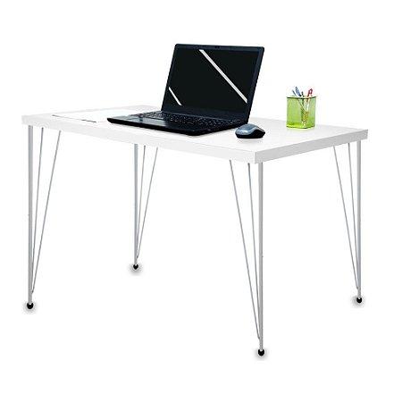 Mesa para Escritório Escrivaninha Estilo Industrial Noruega Mdf 120cm Prata e Branco