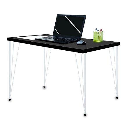 Mesa para Escritório Escrivaninha Estilo Industrial Noruega Mdf 120cm Branco e Preto