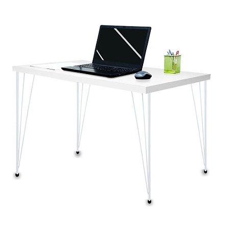 Mesa para Escritório Escrivaninha Estilo Industrial Noruega Mdf 120cm Branco e Branco