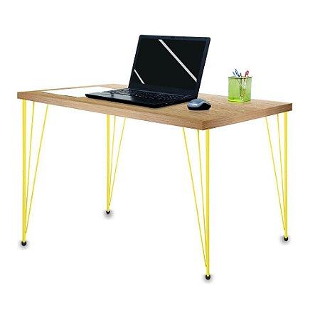 Mesa para Escritório Escrivaninha Estilo Industrial Noruega Mdf 120cm Amarelo e Jade