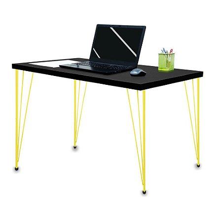 Mesa para Escritório Escrivaninha Estilo Industrial Noruega Mdf 120cm Amarelo e Preto