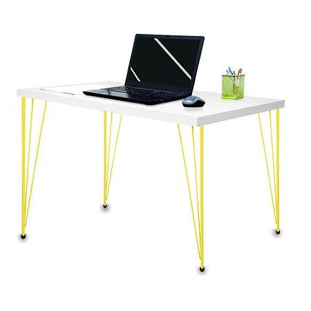 Mesa para Escritório Escrivaninha Estilo Industrial Noruega Mdf 120cm Amarelo e Branco