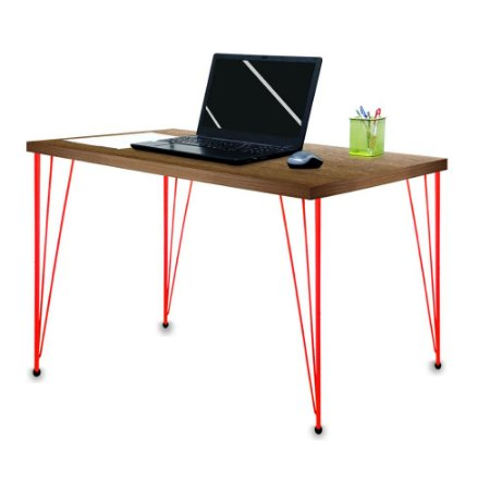 Mesa para Escritório Escrivaninha Estilo Industrial Noruega Mdf 100cm Vermelho e Villandry