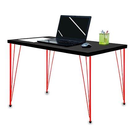 Mesa para Escritório Escrivaninha Estilo Industrial Noruega Mdf 100cm Vermelho e Preto